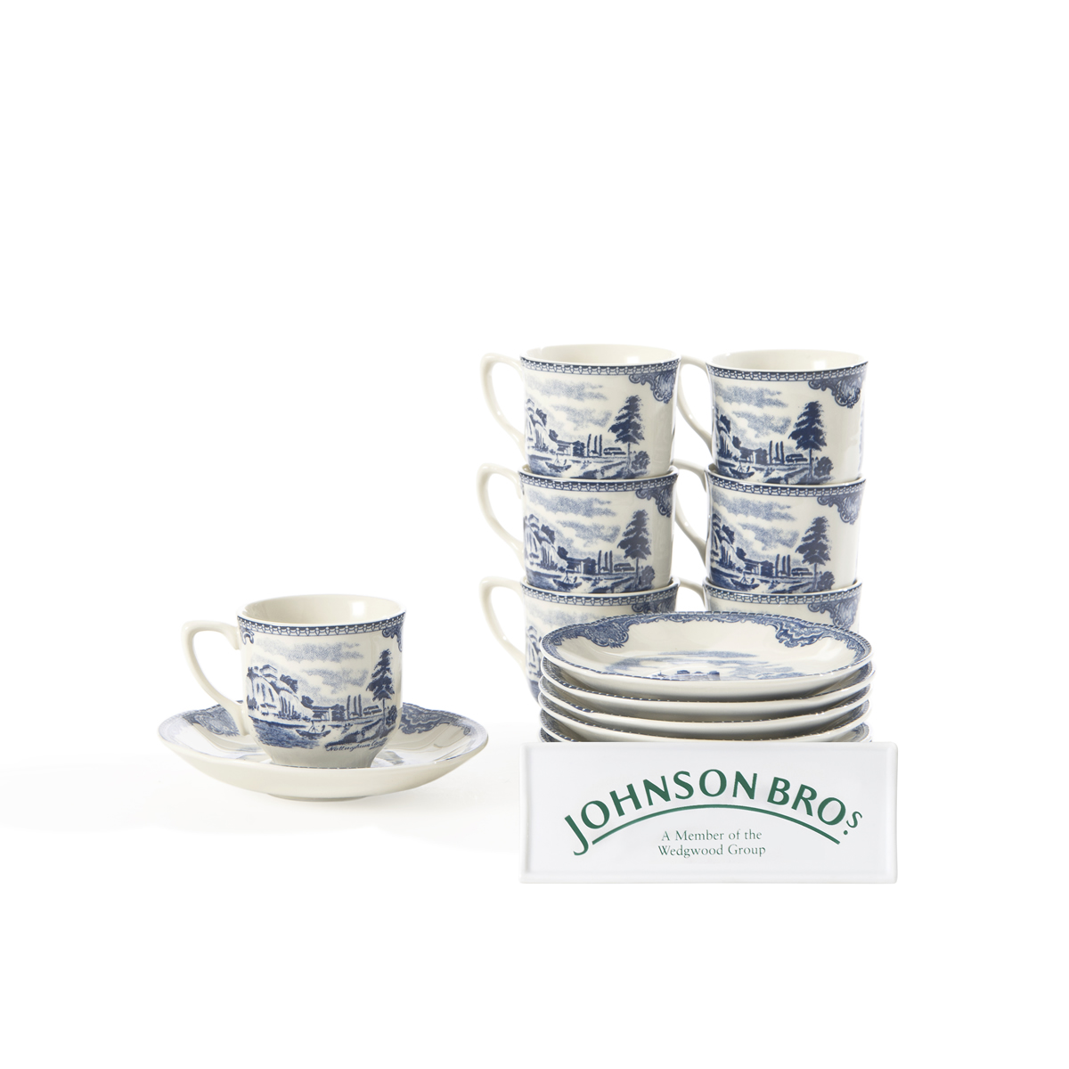 6 pocillos de caf con plato johnson brothers old britain castle blue - Johnson brothers vajilla ...