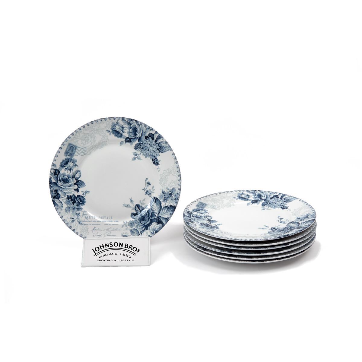 Juego de 6 platos playos johnson brothers blue prints - Johnson brothers vajilla ...
